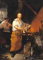 Oil on canvas of Lyon with his leather apron, hammer-in-hand working at his anvil. In the background of the painting, the artist shows the cupola of the Walnut Street Prison.