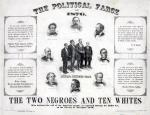 "Print showing bust portraits of eight men, identified as, clockwise from top, Oliver P. Morton, James A. Garfield, George F. Hoar, William Strong, Joseph P. Bradley, Samuel F. Miller, George F. Edmunds, and Frederick T. Frelinghuysen; also a group of four men identified as the ""Louisiana Returning Board"", from left, Kenner, Casenave, Anderson, and Wells. Includes text of four quotes regarding election fraud, such as this by Messrs. Clifford, Field, Bayard, Abbott, Hunton, Thurman & Payne, ""We can prove beyond a shadow of doubt that Louisiana and Florida voted for Tilden by decisive majorities, and we are prepared to show up the villainous frauds of the Returning Boards. All we ask is investigation by this commission"" and this by U.S. Grant, ""No man worthy of the office of President should be willing to hold it if counted in, or placed there, by any fraud. Either party can afford to be disappointed in the result, but the country cannot afford to have the result tainted by the suspicion of illegal, or false returns."" In the 1876 presidential election, the election returns in four states were disputed; the final tally of votes showed Democratic candidate Samuel Tilden with approximately 250,000 more popular votes than Republican candidate Rutherford B. Hayes, though Hayes ended up with one more electoral vote than Tilden. On March 2, 1877, Congress met in a joint session and declared Hayes and Wheeler president and vice-president."