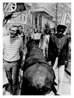 Antiwar demonstrators march from Old Main to the Ordnance Research Laboratory, Penn State University, 1970.