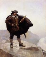 Oil on canvas of a Sea Captain, standing on a cliff and holding a brass telescope