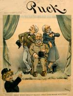 "Political cartoon showing child, representing Puck, pointing at Richard ""Boss"" Croker, Thomas Collier Platt, and Matthew Stanley Quay."