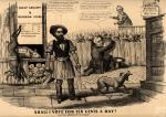 """A campaign parody somewhat favorable to Republican candidate John C. Fremont, but suggesting a conspiracy between Fremont and Millard Fillmore to defeat Democrat James Buchanan. Buchanan's nickname """"Ten Cent Jimmy"""" was a derisive label applied to him by labor interests. In the background behind a fence Buchanan can be seen addressing a working-class gathering. """"Gent[leme]n,"""" he harangues them, """"if you put me in, why I promise that you shall be on the same plan as the laborers of Europe, Ten Cents a Day."""" Fillmore crouches this side of the fence, watching. Fremont, with a carpenter's tools and smock, and shirtsleeves rolled, stands in the foreground. Fillmore (aside, to Fremont): """"Monte, I've got my eye up on the old Buck–with such a crowd as he's got, he can't go in, I'll Bargain with you? If I can't win, why you shall."""" Fremont: """"All right, agreed and if I don't win why you shall, but look here, If Ten Cent Jimmy wins we working men will have Ten Cents a Day. How are we to live? look at the price of provisions."""" To the left is a """"Cheap grocery & provision store"""" offering pork at ten to eighteen cents per pound, """"Fine Buck"""" at two and a half cents, cabbages at ten to twelve and a half cents each, and other produce at equally high rates. At right is the boardinghouse of """"Mrs Woodbee Late Pierce"""" (no doubt a disparaging reference to Democratic incumbent Franklin Pierce) offering rooms to mechanics at three dollars per week. A scrawny dog barks at the door."""