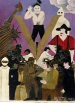 "In the lower half of the painting, the figure groups are placed symmetrically on either side of the large ""V"", separating them. For African Americans, the ""V"" for victory referred to the winning the struggle for equality in the U.S. as well as winning the war in Europe. On the left of the painting a black Statue of Liberty, holds a flaming torch. Four African American men stand below her, each wearing a uniform: a doctor, an aviator, a sailor, and Horace Pippin himself, wearing a brown WW I uniform, with his right arm injured in battle hanging straight down at his side.  On the right are white men in uniform. One of them extends his hand towards the black man on the other side and his gesture is mirrored by sailor on the left, however their hands do not touch. A grim faced white man, depicted as an executioner, hammers a wedge into the ""V"" The skin color of the individuals separates the black and white on either side of the painting. On the right side of the painting a white-robed member of the Ku Klux Klan hovers above a man holding a noose."
