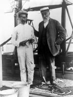 Samuel Pierpont Langley (1834-1906) and Charles M. Manly (left), chief mechanic and pilot on board the houseboat that served to launch Langley's Aerodrome aircraft over the Potomac River