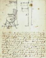 Charles Willson Peale's drawing of Mr. Cram's fan chair, presented to the American Philosophical Society in 1786.