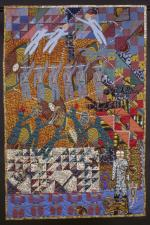 A colorful story quilt, with rich oranges, reds, purples and blues. Figures of people, a lion, a lizard, and birds are stitched into the quilt.
