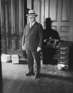 James J. Davis, United States Senator from Pennsylvania, and Cabinet Member under the President, is seen here after he had left Federal Court in New York, where he was indicted on ten counts on charges of violating the Federal laws prohibiting matter pertaining to lotteries from the mails