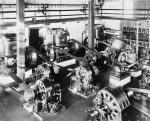 Early alternating current (AC) electrical generators in a Westinghouse Electric power plant, circa 1888.