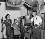 Betty McNellis sings for a television broadcasting demonstration