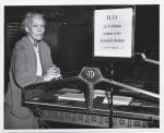 H. D. at Yale: photograph of Hilda Doolittle in Sterling Library at an exhibition in honor of her seventieth birthday, Yale University