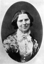 Clara Barton around 1878. She is wearing a Red Cross pin given to her for her service with the German Red Cross during the Franco-Prussian War.