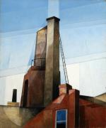 Oil on canvas of a factory chimney paired with a round silo .