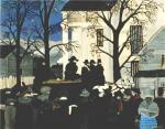 It is a bleak and dreary day, with leaf bare trees. Figures face the wagon that carries John Brown, who is tied with rope and sitting on his own coffin. In the bottom right hand corner, a black woman in a blue and white dress, shawl, and hat faces the viewer. '