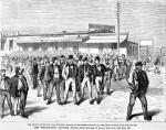 New York roughs driving Buckalew voters from the polls – Policemen arresting citizens for challenging the votes of Negro repeaters – The arrival of the New York repeaters, engaged by the Hartranft party, at the railroad depot, West Philadelphia.
