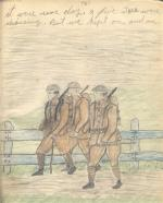 Pencil sketch of three soldiers marching'