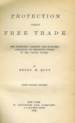 Front page of Henry Hoyt's Protection Versus Free Trade, 1886.