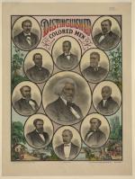 Head-and-shoulders portraits of Frederick Douglass, Robert Brown Elliott, Blanche K. Bruce, William Wells Brown, Md., Prof. R.T. Greener, Rt. Rev. Richard Allen, J.H. Rainey, E.D. Bassett, John Mercer Langston, P.B.S. Pinchback, and Henry Highland Garnet.