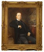 Oil on canvas of a man wearing a suit and seated