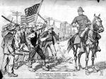 Illustration of a policeman astride a horse and rioters holding sticks and an American flag.'