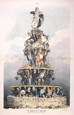 Different levels with people holding up each level. The people are at the bottom of the pile.Voters elected the state legislatures, which in turn elected senators. Keppler depicted two more tiers between state legislatures and senators: political bosses and corporate interests.'