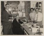 Vance Packard: The signing photo is dated April 19, 1958, taken at the Pennsylvania Book Shop, 129 East Beaver Avenue. The man who is standing on the left of Packard is Sam Murray, the publisher's rep from Anchor Books