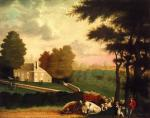 Oil on canvas of William Penn's grave. A lovely old stone home surrounded by a stone fence sits in the background. Horse and carriage sit at the entrance as people mill around the grounds. Under a tree in the foreground, cows, sheep, a shepherd, and a child with her dog rest. The sky is cloudy