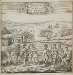 In this 1702 engraving, Swedish artist Thomas Campanius Holm depicted a friendly exchange between local Indians and traders in New Sweden, on the Delaware River.