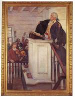 Oil on canvas of the famed Woodstock scene in which General Muhlenberg laid aside his clerical gown. Mulenberg preaching from a pulpit in fill military garb under his robe.