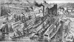 Engraving of landing place of European Steamers, and Pennsylvania Railroad Station, Philadelphia, c. 1887.