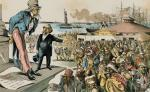Cartoon shows a man holding a top hat in one hand and gesturing toward horde of arriving immigrants. He scolds Uncle Sam.