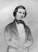 Engraving, three quarter length portrait, of a man dressed in a formal jacket, vest, and bow-tie