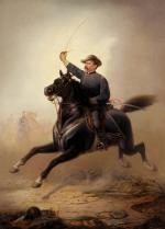 Energy packed oil on canvas painting of General Sheridan in full uniform, sword in hand, charging forward upon the back a magnificent black horse. Dust billows underneath and behind the horse, depicted with all four feet off the ground and his tail flying. In the hazy background are images of other soldiers. One can almost feel the wind and hear the battle.