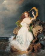 The sea breaks against the jagged rocks, where a beautiful, auburn haired, barefoot woman, wearing a free flowing white dress, stands while playing a harp.