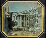 William and Frederick Langenheim, Girard Bank. Daguerreotype, May 1844. Gift of John A. McAllister, 1896. This view of militia gathering in the wake of an anti-Catholic riot is Philadelphia's first &quot;news&quot;photograph. This view of militia gathering in the wake of an anti-Catholic riot is Philadelphia's first &quot;news&quot; photograph.