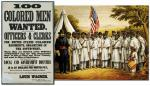 Recruiting poster and lithograph of Camp William Penn, Cheltenham, PA, circa 1863.