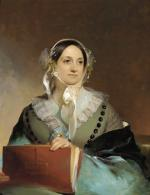 Oil on canvas of a woman seated, wearing a bonnet, and holding a folder.
