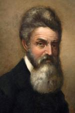 Oil on Canvas portrait, head and shoulders, of John Brown wearing military clothing and sporting a long beard