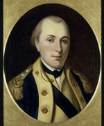Bust length, facing forward of a man wearing a dark blue uniform coat with buff facings, gold epaulettes with two stars each. He has a buff waistcoat, white shirt, and a black sword across his chest.