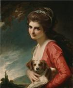Beautiful oil on canvas of Emma Hart Hamilton and her dog.