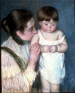 Oil on canvas of a mother kissing the shoulder of her young son