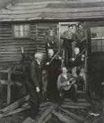 George Korson recording staged hoedown in Pennsylvania, with anthracite miners playing fiddle and guitar.