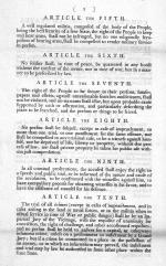 Printed copy of article 5-10 of the seventeen proposed amendments to the Constitution passed by the House of Representatives on August 24, 1789.