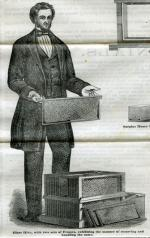 Advertisement Illustration of a man holding a removal frame from a Langstroth beehive, circa 1858.