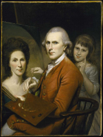 Self portrait of Charles Willson Peale in front of an easel with his wife Rachel and daughter Angelica from the 1780s
