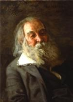 A beautiful oil on canvas portrait of Walt Whitman, with long white hair and beard.