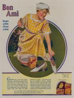 Color advertisement of woman cleaning with Bon Ami.