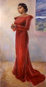 Formal, full length, oil on canvas of Marian Anderson in red dress.