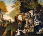 Oil on canvas of several small children, animals, and Penn's treaty in the left background. In this painting a child touches the head of a docile leopard and the animal faces seem collectively less fierce.'