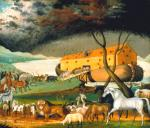 Oil on canvas of animals walking two by two, in a line to enter Noah's ark. Storm clouds loom overhead.'