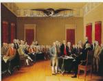 Oil on canvas of depicting the signers of the Declaration of Independence and the words with this title written across the top far wall.'
